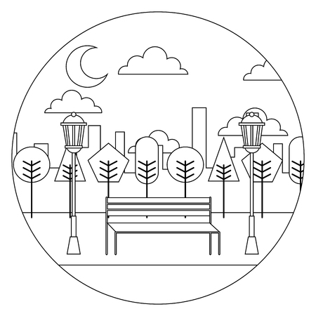 landscape night view park bench trees lamps urban round design vector illustration  thin line