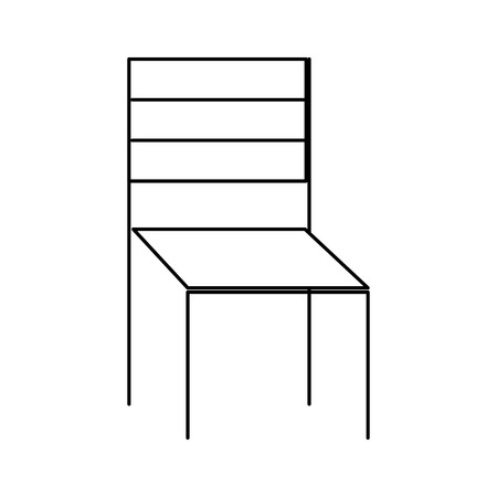 wooden chair furniture outdoors decoration vector illustration thin line