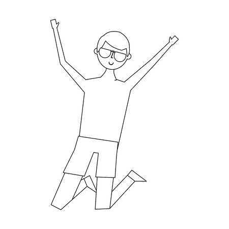 young jumping man wearing short and sunglasses vector illustration thin line