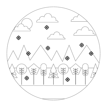 landscape winter season snow mountains forest sun clouds round design vector illustration  thin line Ilustrace