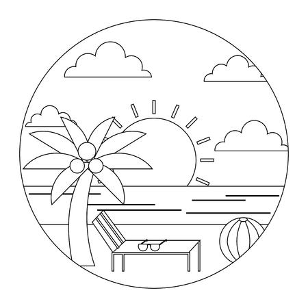 landscape summer beach sun lounger sea palm ball round design vector illustration  thin line