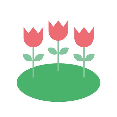 フィールドネイチャーベクターイラストの装飾花チューリップ