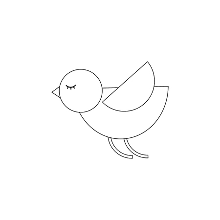 cute cartoon flying bird animal vector illustration thin line