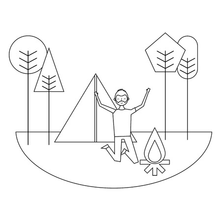 jumping happy man in camping field tent bonfire trees vector illustration thin line