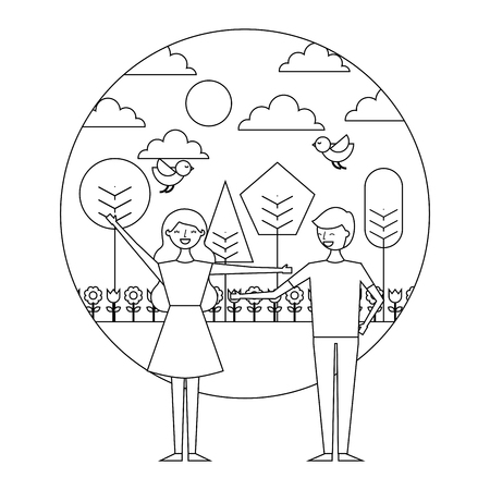 happy couple standing in the park spring flowers birds trees vector illustration thin line