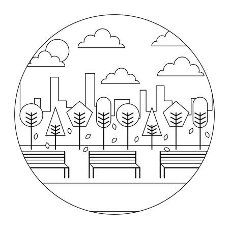 風景の夕暮れ公園と都市背景ラウンドデザインベクトルイラストの細い線