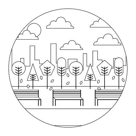landscape sunset park and city background round design vector illustration  thin line Illustration