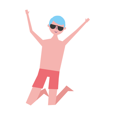 young jumping man wearing short and sunglasses vector illustration