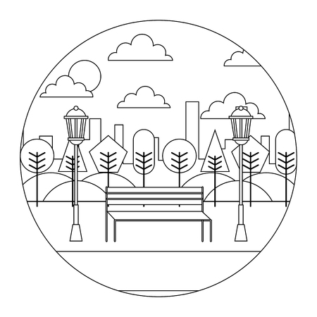 landscape aprk inthe city bench trees and lamps round design vector illustration  thin line