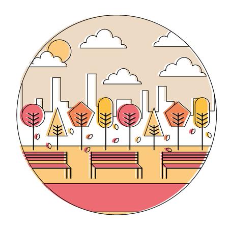 風景秋の夕焼け公園と都市の背景ラウンドデザインベクトル図  イラスト・ベクター素材