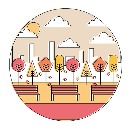 landscape autumn sunset park and city background round design vector illustration Illustration