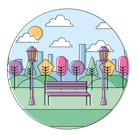 landscape  park in the city bench trees and lamps round design vector illustration