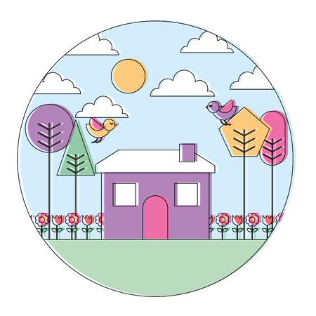 landscape house tree bird flowers spring season round design vector illustration Stock Illustratie