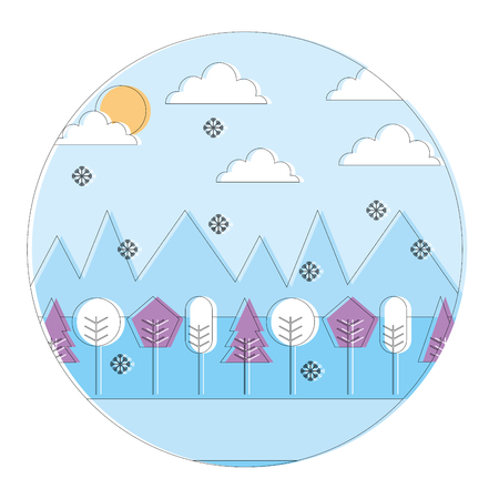 landscape winter season snow mountains forest sun clouds round design vector illustration