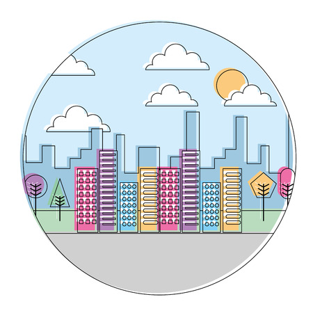 landscape city buildings urban panorama with trees round design vector illustration