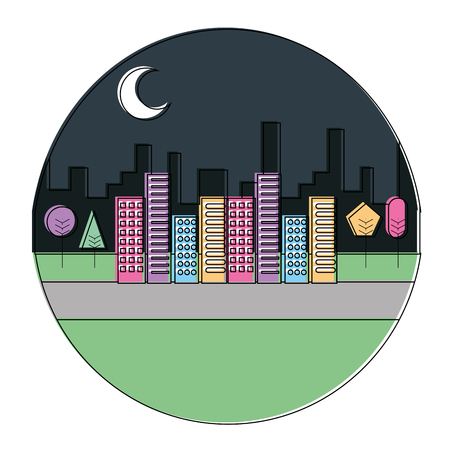 landscape night urban buildings trees moon scenary round design vector illustration