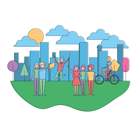 people making differents acitivites in the park urban landscape vector illustration Ilustrace