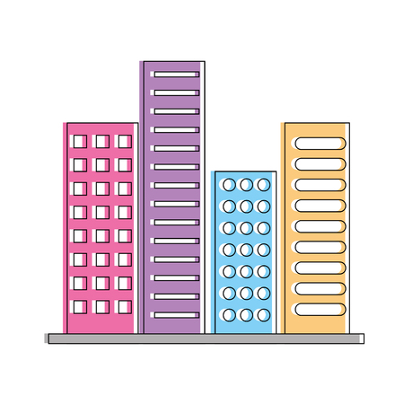 buildings structure architecture urban constructions vector illustration Illustration