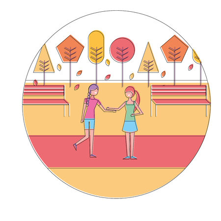 two woman holding hands in autumn season landscape vector illustration