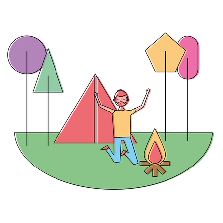 jumping happy man in camping field tent bonfire trees vector illustration