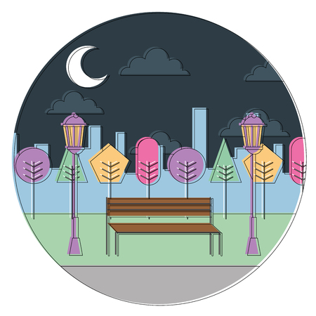 landscape night view park bench trees lamps urban round design vector illustration