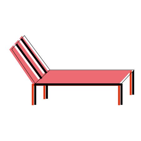 beach sun lounger chair comfort vector illustration Illustration