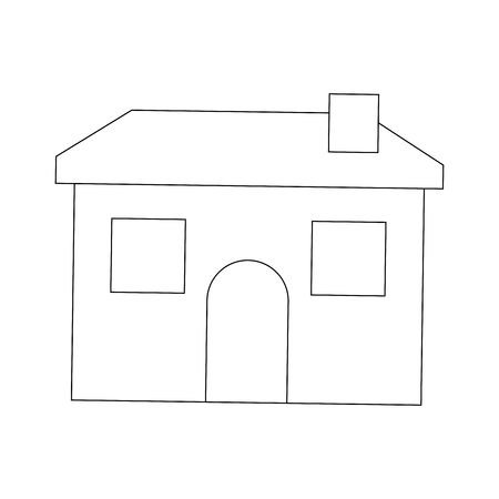cartoon house home architecture chimney vector illustration outline image
