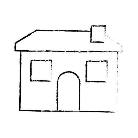 cartoon house home architecture chimney vector illustration sketch image 일러스트