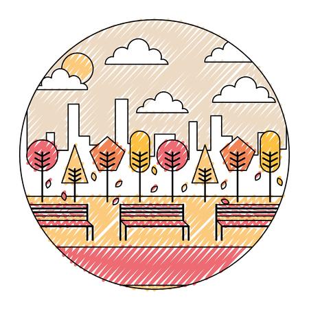 秋の公園と都市の背景ラウンドデザインベクトル図