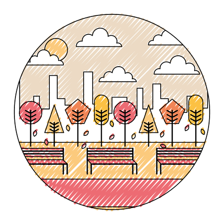 Autumn park and city background round design vector illustration Stock Illustratie