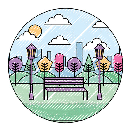 Landscape park in the city bench trees and lamps round design vector illustration drawing color image