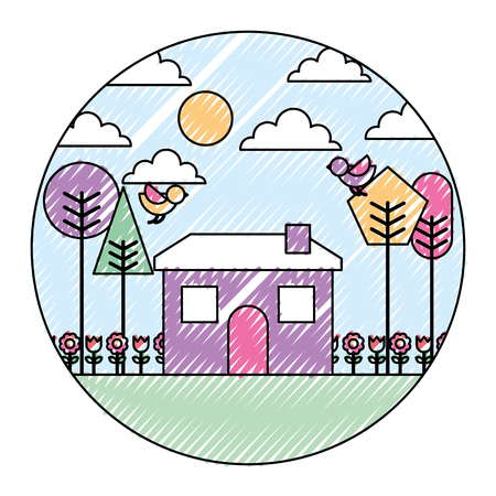 Landscape house tree bird flowers spring season round design vector illustration drawing color image