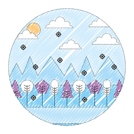 Landscape winter season snow mountains forest sun clouds round design vector illustration drawing color image