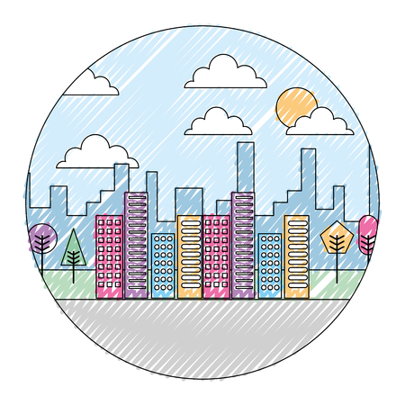Landscape city buildings urban panorama with trees round design vector illustration drawing color image Illustration