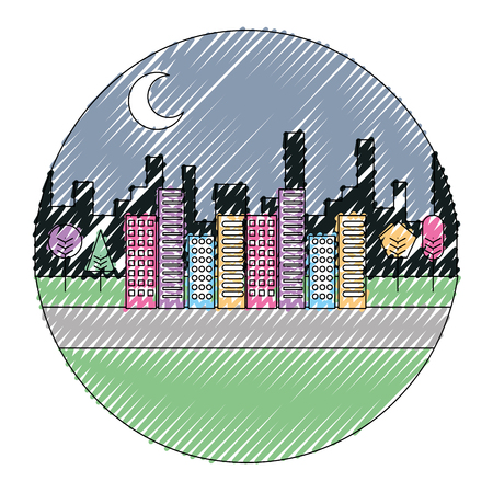 Landscape night urban buildings trees moon scenary round design vector illustration drawing color image  イラスト・ベクター素材