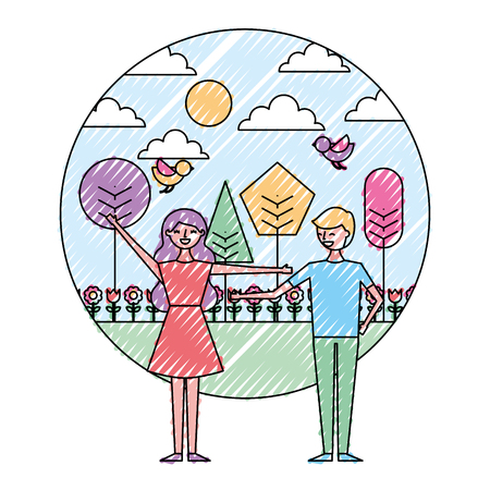 Happy couple standing in the park spring flowers birds trees vector illustration drawing color image Stock Illustratie