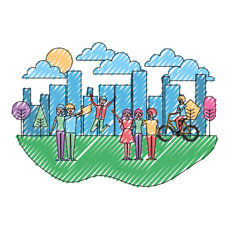 People making differents acitivites in the park urban landscape vector illustration drawing color image Ilustrace