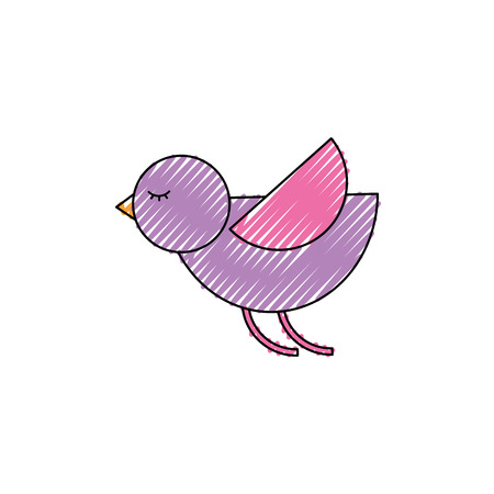 Cute cartoon flying bird animal vector illustration drawing color image