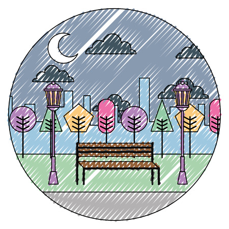 Night view of park with bench, trees and clouds round design vector illustration.