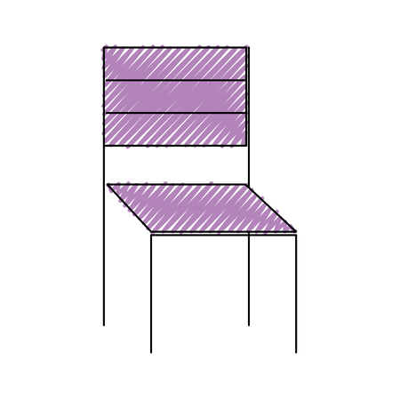 Wooden chair furniture outdoors decoration vector illustration drawing color image