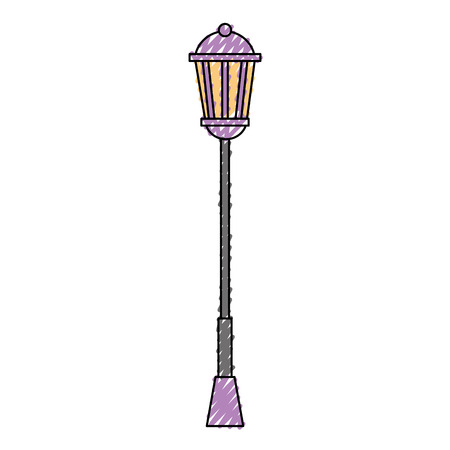 Vintage lamp post street light vector illustration drawing color image