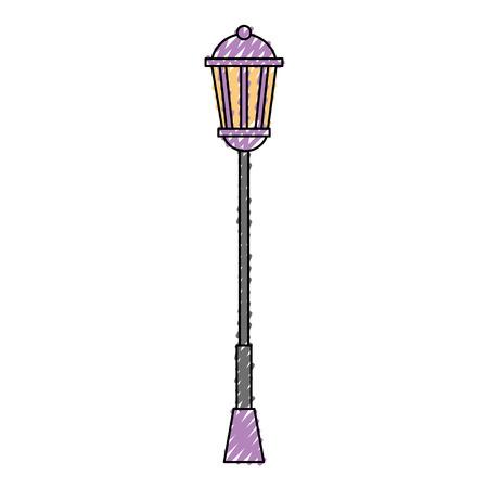 Vintage lamp post street light vector illustration drawing color image