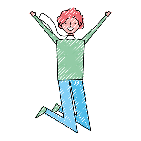 Happy man character male in the casual clothes warm vector illustration drawing color image Stock Illustratie