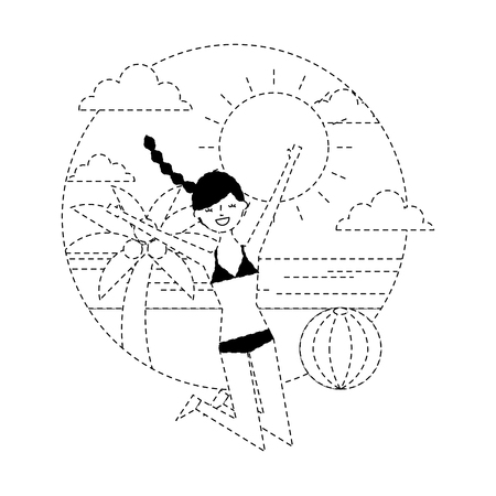 A young woman jumping in the beach vector illustration dotted line image