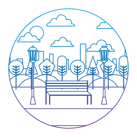 Park in the city with bench, trees and lamps round design vector illustration degrade color image Illustration
