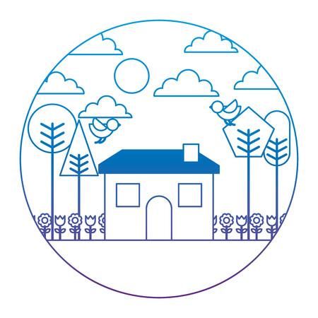 Landscape house tree bird flowers spring season round design vector illustration degrade color image