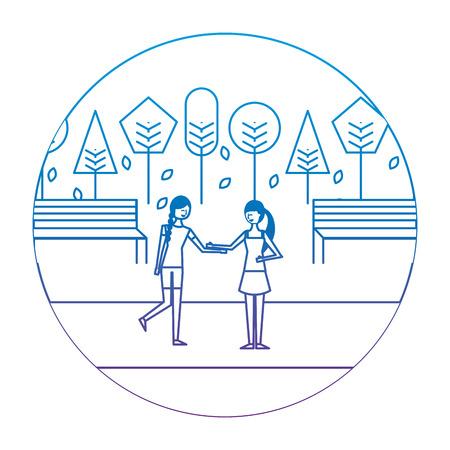 Two woman holding hands in autumn season landscape vector illustration degrade color image Illustration