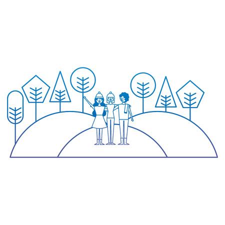 People friends standing in hills natural trees landscape vector illustration degrade color image