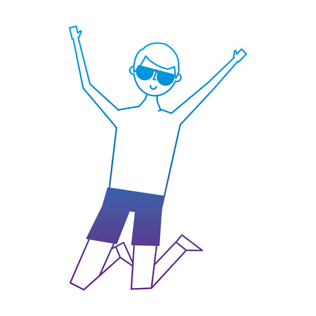 Young jumping man wearing short and sunglasses vector illustration degrade color image