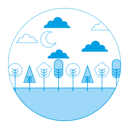 Landscape night moon clouds trees round design vector illustration